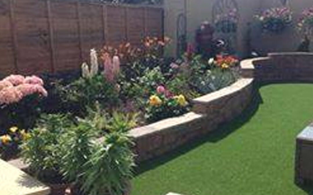 New landscaped garden with turf